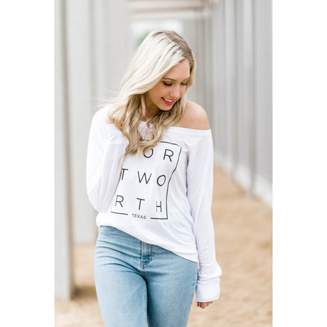 White Modern Fort Worth Flowy Long Sleeve Tee