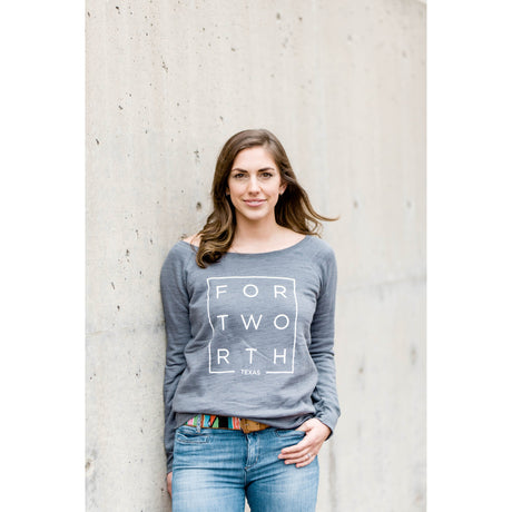 Dark Grey Marble Fort Worth Fleece Wide Neck Sweatshirt