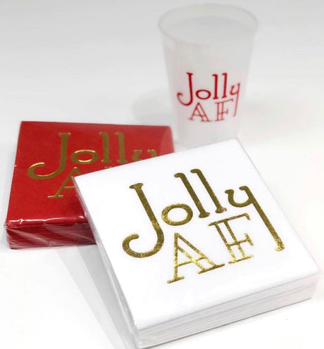 Jolly AF Linun Cocktail Napkins - White/Gold
