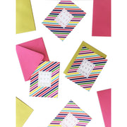 Multicolor Stripe Funkytown Folded Note Card Set