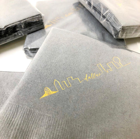 Dallas Skyline Cocktail Napkins 3 ply- Cool Gray