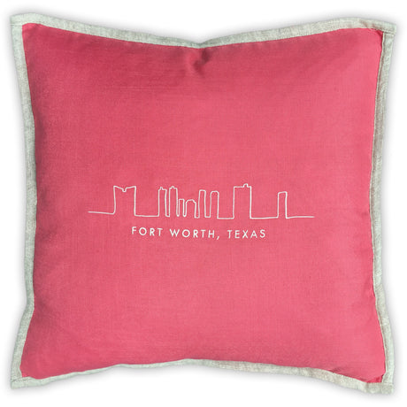Fort Worth Skyline Linen Edged Pillow