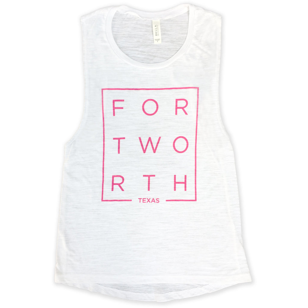 Pink Modern Fort Worth White Slub Muscle Tank