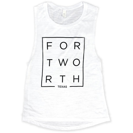 Modern Fort Worth White Slub Muscle Tank