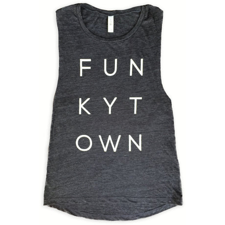 Charcoal Black Slub Funkytown Muscle Tank