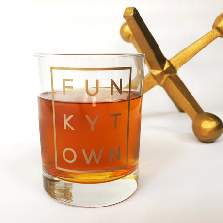 Metallic Gold Funkytown Double Old Fashion Glass