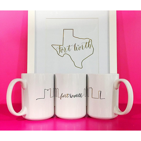 Gold Foil Fort Worth Skyline Mug