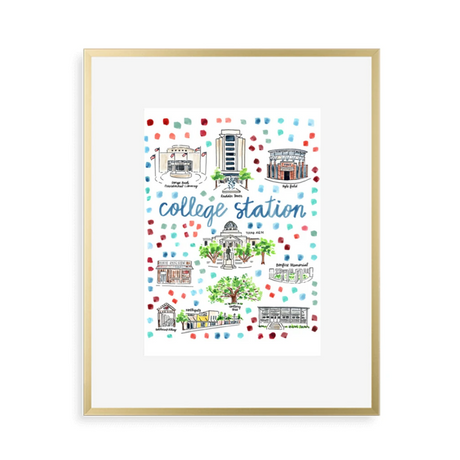 College Station Map Art Print