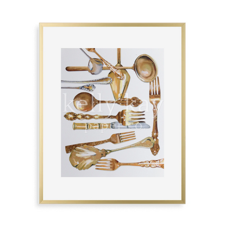 Kelly Kay Art Print - Gold Flatware