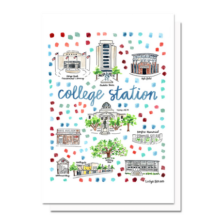 College Station Map Greeting Card