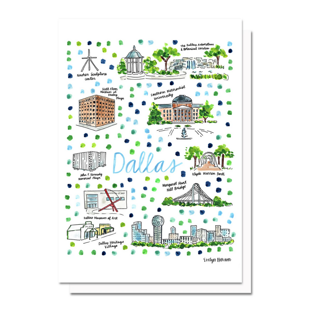Dallas Map Greeting Card