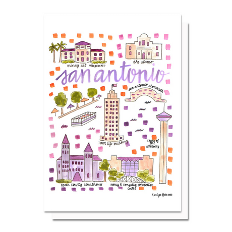 San Antonio Map Greeting Card