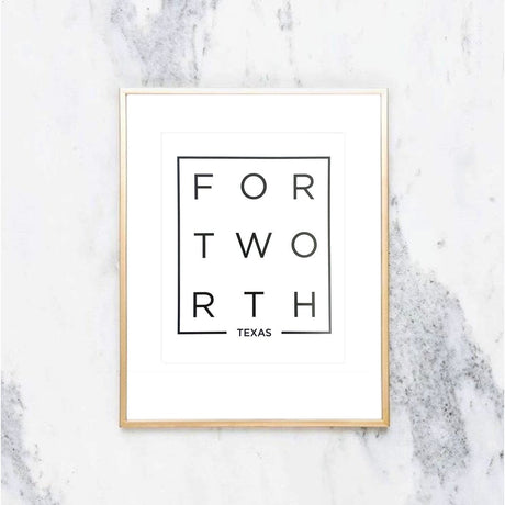 Modern Fort Worth Print in Black