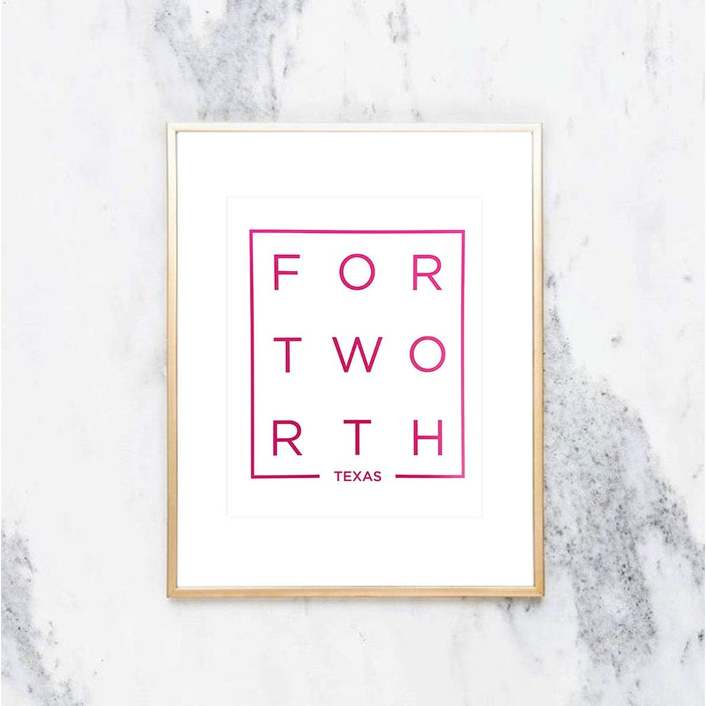Modern Fort Worth Art Print in Pink