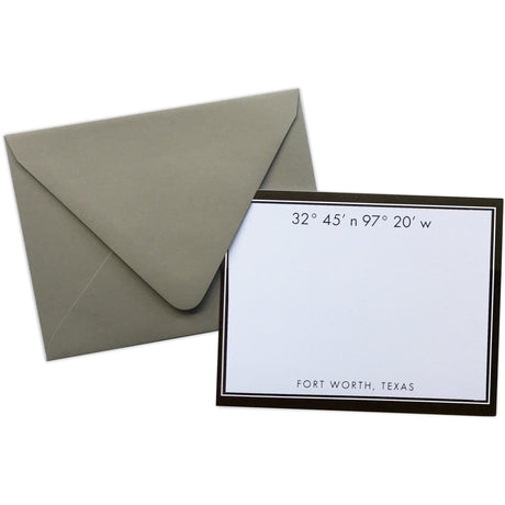 Fort Worth Coordinates Note Card Set