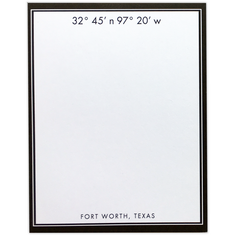 Fort Worth Coordinates Notepad