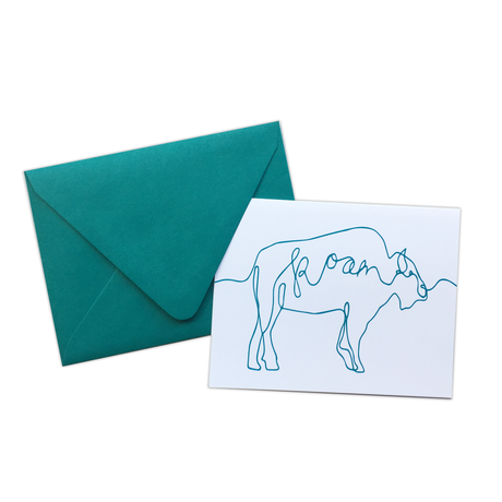 Teal Buffalo Roam Note Card Set
