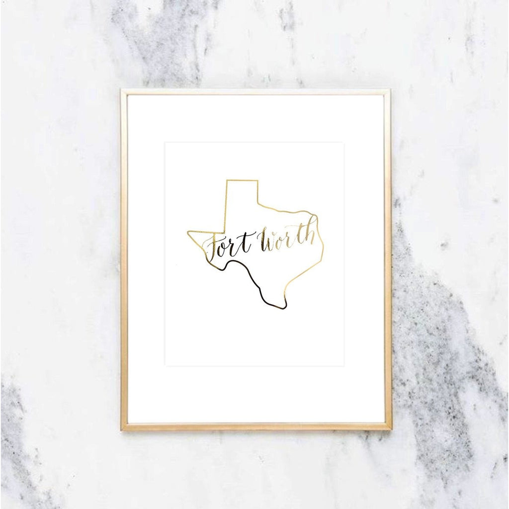 Fort Worth, Texas Gold Foil Print