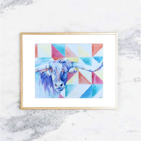 Modern Watercolor Bull Art Print