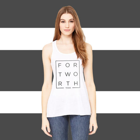 White Fort Worth Racerback Tank