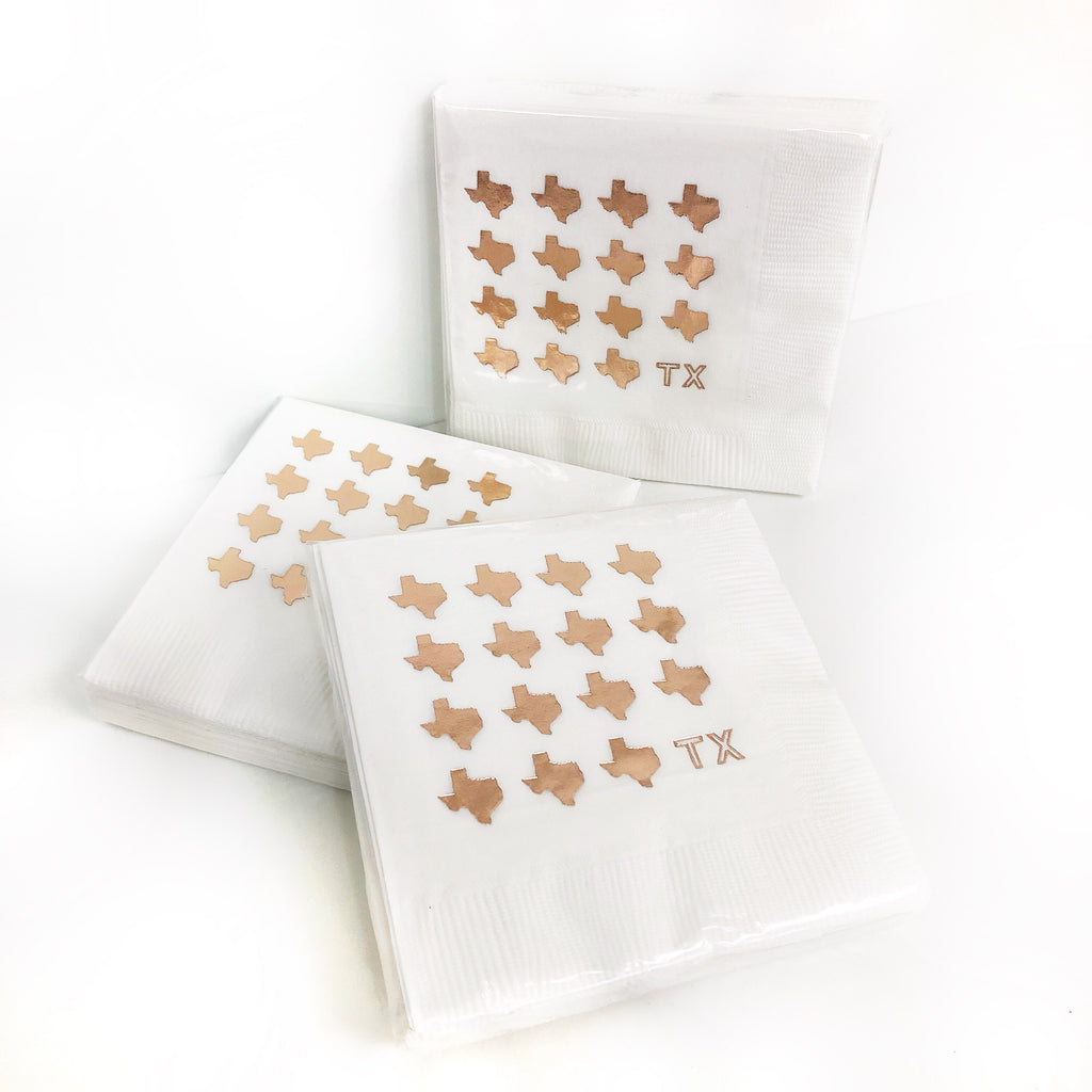 Rose Gold TX Napkins - White 3Ply