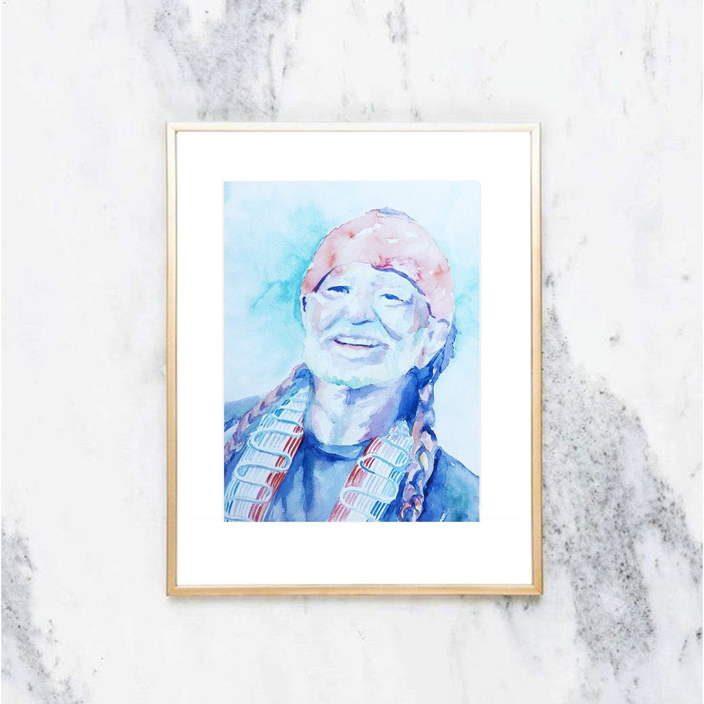 Willie Nelson Watercolor Print