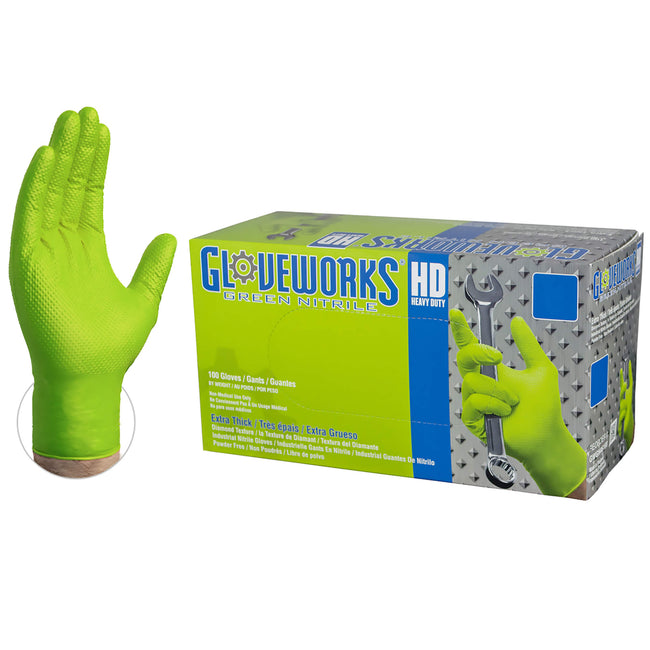 Gloveworks HD Green Nitrile Disposable Gloves