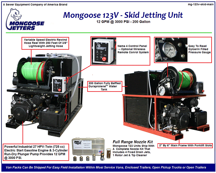 Mongoose 123 Van Pack - Side Door (12 GPM @ 3000 PSI, 200 GALLON)
