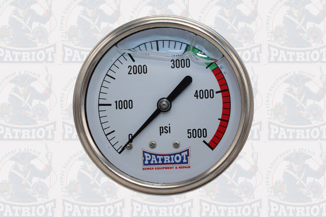 "2 1/2"" Patriot Sewer Equipment Stainless Steel Pressure Gauge (0-5000 PSI)"