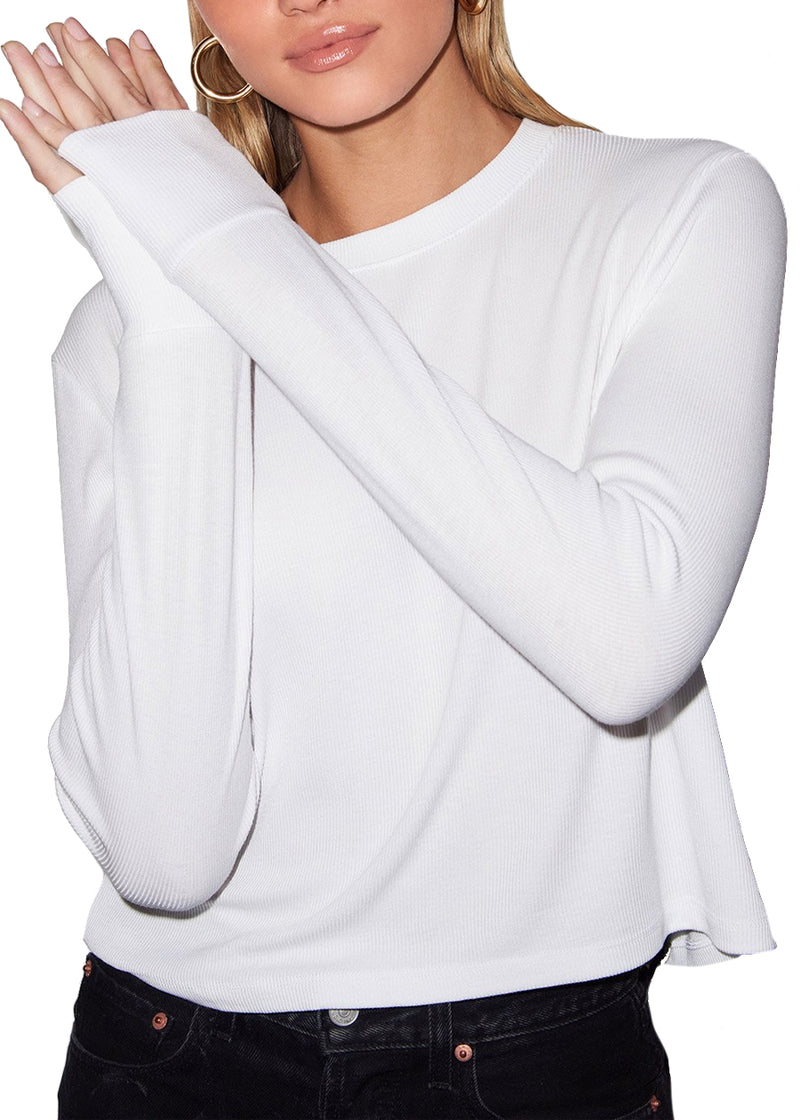 Ribbed Long Sleeve Crew