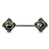 Antique Burnish Silver Dark Green Opal Flower Nipple Barbell