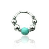 Spiral Multi Beads Turquoise Center Nose / Cartilage / Tragus / Helix Hoop