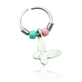 Butterfly Dangle Pink and Light Blue Beaded Nose / Cartilage / Tragus / Helix Hoop