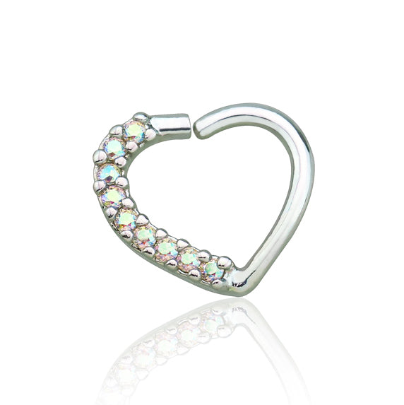 Silver Lined CZ Set Heart Ear Cartilage/Tragus/Daith Rings