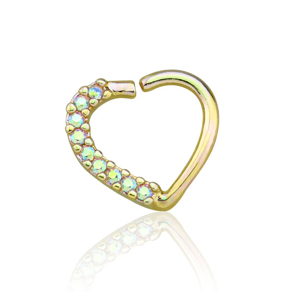 Gold Lined CZ Set Heart Ear Cartilage/Tragus/Daith Rings