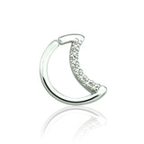 Silver Half Moon Shape CZ Set Ear Cartilage / Tragus / Daith Rings