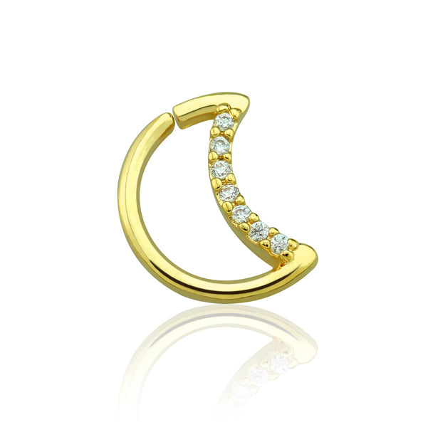 Gold Half Moon Shape CZ Set Ear Cartilage / Tragus / Daith Rings