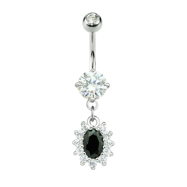 Black Stone Oval Flower Dangle Navel Ring