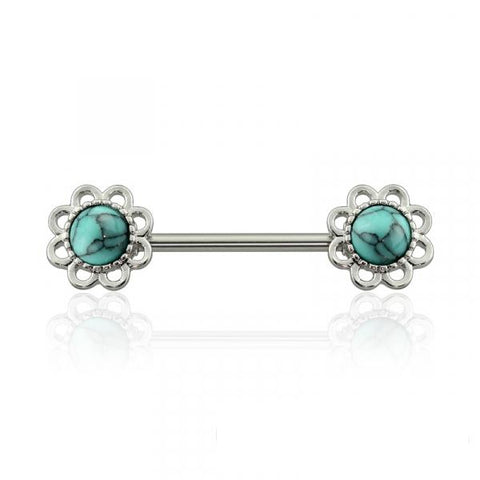316L Surgical Steel Turquoise Stone Flower Nipple Barbell | Acier Chirurgical 316L Pierre Turquoise Téton Barbell