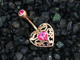 Non Dangle Rose Gold Heart Belly Button Ring