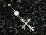 Hematite Cross Belly Button Ring