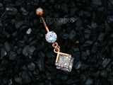 Mounted Diamond Belly Button Ring