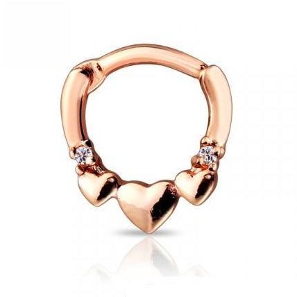 Rose Gold Three Hearts Gem Septum / Daith Clicker Ring