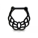 Black Leaf Patterned Septum / Daith Clicker Ring