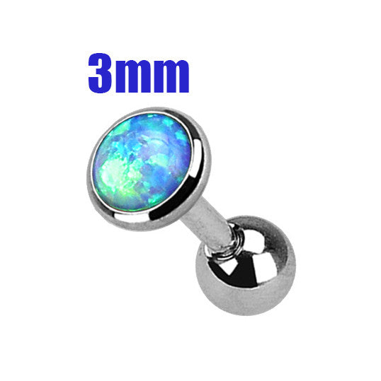 3mm Blue Opal Cartilage Helix Tragus Barbell, Opal Sparkle Cartilage Earring | Opale Bleue 3mm Cartilage Helix Tragus Barbell, Opale Eclatante