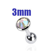 3mm AB Crystal Cartilage Helix Earring, Silver Tragus Piercing Stud | Cristal AB 3mm Cartilage Helix Tragus, Stud Argenté