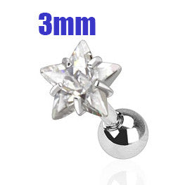 3mm Clear Star Triple Helix Stud Cartilage Earring | Triple Helix Piercing Cartilage Etoile Transparente 3mm