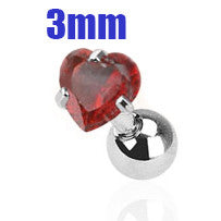 3mm Red Heart Triple Helix Stud Cartilage Earring | Piercing Cartilage Triple Helix Coeur Rouge 3mm