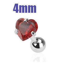 4mm Red Heart Triple Helix Stud Cartilage Earring | Piercing Cartilage Triple Helix Coeur Rouge 4mm