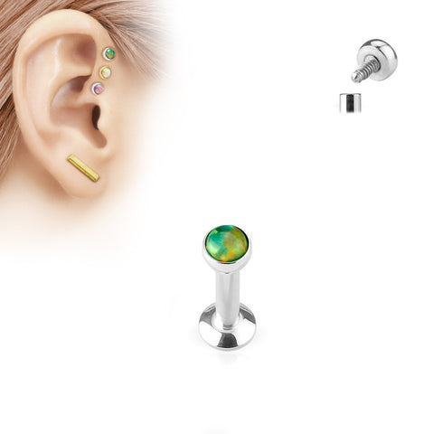 4mm Tragus Forward Helix Labret Monroe Lip Cartilage Bar Stud, Green Opal Labret Stud | Piercing Helix Labret Monroe Levre Barre Cartilage 4mm, Opale Verte
